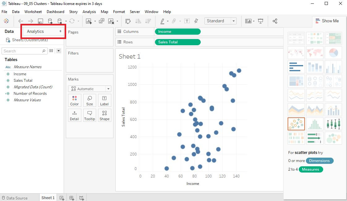 Tableau Data clusters in Scatter plots Step 1